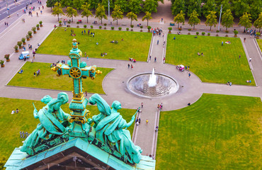 Aerial view of Lustgarten - park in front of the Berliner Dom, Museum island, Berlin city, Germany. View from the rooftop of Berliner Dom