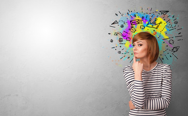 Business person with colorful splash above the head