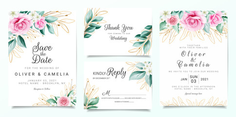 Elegant wedding invitation card template set with flowers decoration and outlined glitter leaves. Peach roses illustration for background, save the date, invitation, greeting card, poster