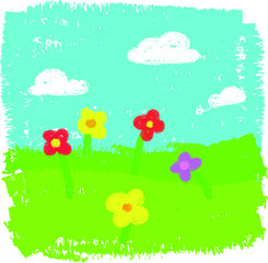 Wax crayon kid`s hand drawn grass hills with blue sky ,child`s drawn flowers set. kid`s painting spring and summer meadow. Vector chalk background banner