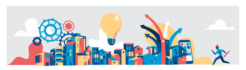 Modern city planning concept. Vector illustration
