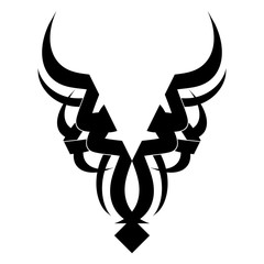 Taurus tattoo design. Vector illustration with tribal tattoo isolated on white.