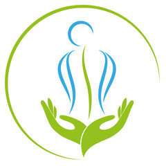 Zwei Hände und Person, Orthopädie und Heilpraktiker Logo, Icon