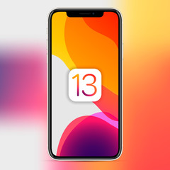 MOSCOW, RUSSIA - November 15, 2019: Apple iPhone with an abstract wallpaper image about the release of the new iOS 13 version. Vector illustration EPS 10
