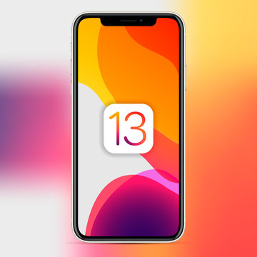 MOSCOW, RUSSIA - November 15, 2019: Apple phone with an abstract wallpaper image about the release of the new iOS 13 version. Vector illustration EPS 10