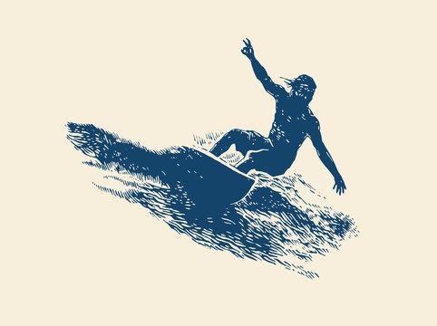 Surfing  Logo Design. Surfer And Wave. Vector Illustration.
