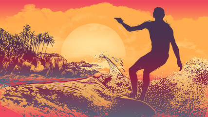 Silhouette Surfer, Big Wave  And Tropical Coast With Palm Trees, Rocks And Sun. aspect ratio 16:9. Vector Illustration