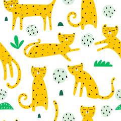 Seamless pattern with cartoon leopards, decor elements. flat vector animals. Hand drawing for children. wild life. baby design for print, textile, fabric, wrapper