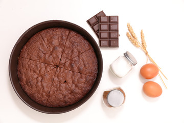 chocolate cake and ingredient isolated on white background