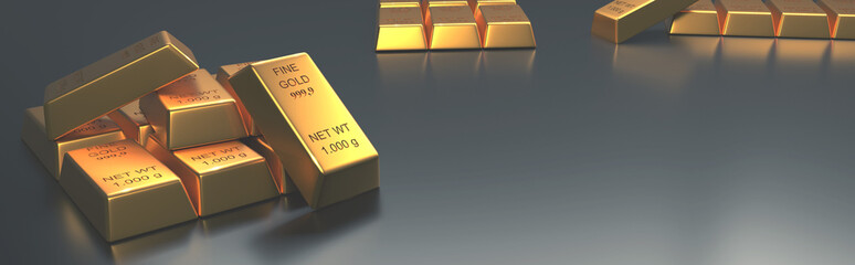 Stacked gold bars on a bright background
