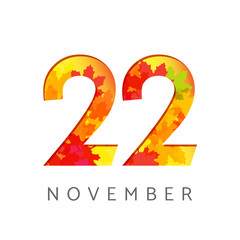 22 nd of November calendar numbers. 22 years old autumn logotype. Anniversary digits with leaves. Isolated abstract graphic design template. White background. Up to 22% percent off creative discount.