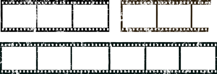 frames of film, grungy photo film frames,filmstrips with free copy space,vector,fictional artwork