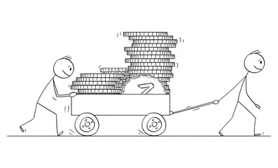 Vector cartoon stick figure drawing conceptual illustration of two men or businessmen pushing cart or handcart or pushcart loaded by coins.