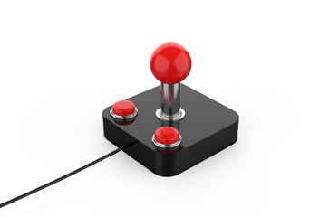 Retro game joystick, mock up template on isolated white background, 3d illustration