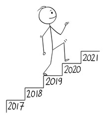 Vector cartoon stick figure drawing conceptual illustration of man or businessman walking up the stairs or staircase or stairway with year number on each step. Business concept of growth in time.