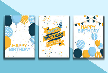 Set of Happy Birthday Poster