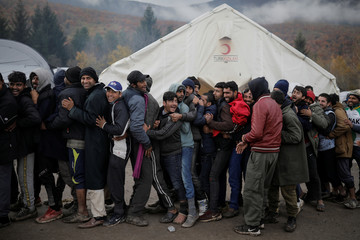 Migrants living in tents at Bosnia-Croatia border face harsh winter