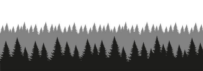 Coniferous forest silhouette. Forest background in aerial perspective. The design element of the park, forest, landscape. Flat vector illustration isolated on white background.
