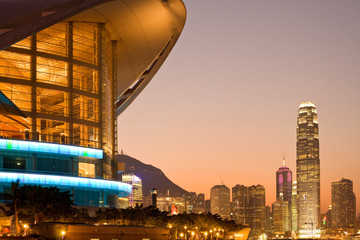 Hong Kong, China - Hong Kong Convention and Exhibition Centre building and skyline ofVictoria Harbour.