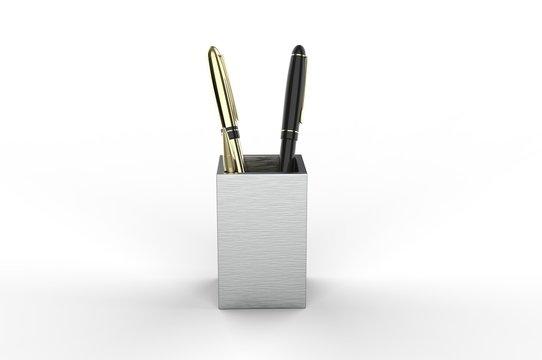 Wood Desk Pen Pencil Holder Stand Multi Purpose Use Cup Pot Desk Organizer For Branding, 3d render illustration.