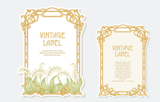 Lily of the valley. Set of 2 labels, decorative frames, borders. Good for product label. Vector illustration. In art nouveau style, vintage, old, retro style. Isolated on white background..