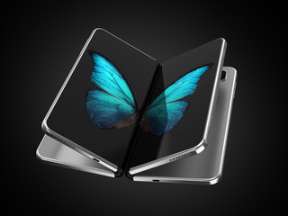 Concept of two foldable smartphone folded and placed next to each other with butterfly image on screens. Flexible smartphone isolated on black background. 3D rendering