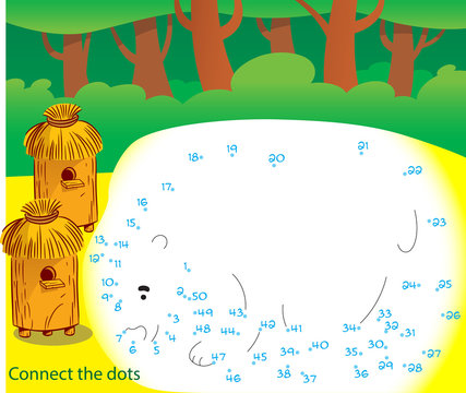 In the vector illustration, a puzzle where you need to connect the dots and draw a bear who climbed to the apiary