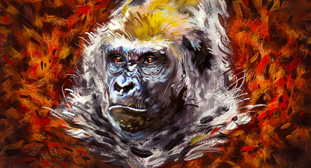 Wall Murals Hand drawn Sketch of animals Beautiful portrait of a gorilla. Painted face of a gorilla on a vivid background. Oil paint style.