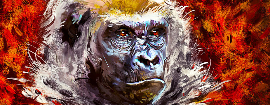 Beautiful portrait of a gorilla. Painted face of a gorilla on a vivid background. Oil paint style.