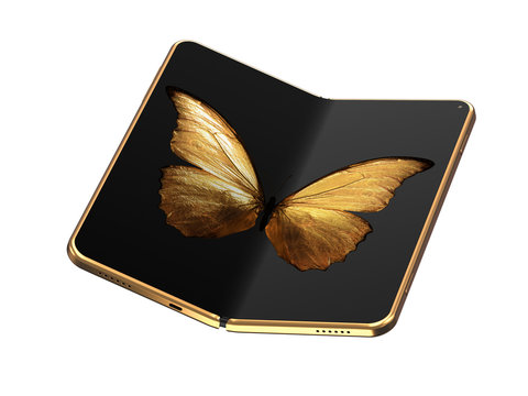 Concept of foldable smartphone folding on the longer side with golden butterfly image on screen. Flexible smartphone isolated on white background. 3D rendering