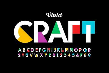 Fototapeta Modern vivid color style font, vibtant alphabet, letters and numbers obraz