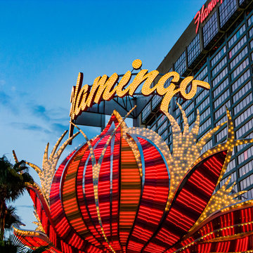 Flamingo hotel and gambling place on the Las Vegas Strip in the late afternoon in neon light in Las Vegas, USA