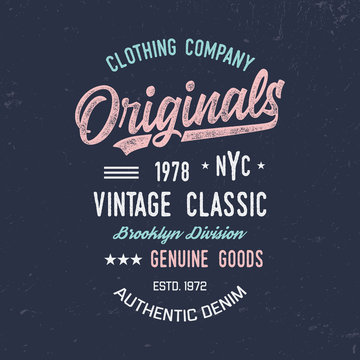 Brooklyn typography. Textured vintage vector t-shirt and apparel design, print, logo, poster. Vector