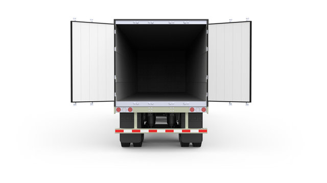 Generic American white semi trailer with opened back doors from the back view, photo realistic isolated 3D illustration on the white background.