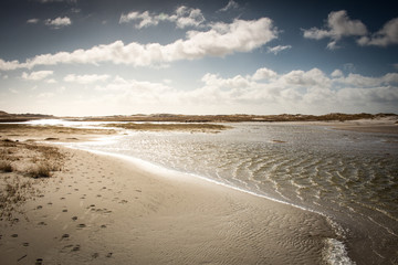 Amrum dunes with cloudy sky