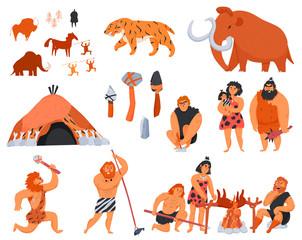 Fototapeta Primitive Men Cartoon Icons Set