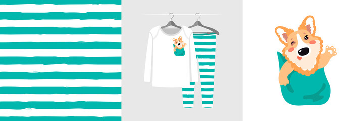 Wall Mural - Seamless stripe pattern and illustration for kid with Corgi dog in pocket