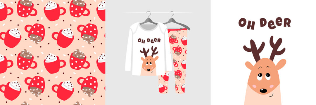 Seamless Christmas pattern and illustration for kid with fawn, text Oh deer