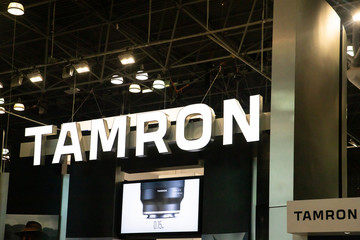 New York City, New York - October, 24, 2019:  View of the Tamron display at the 2019 PhotoPlus Expo in New York City,