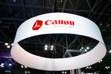 New York City, New York - October, 24, 2019:  View of the Canon Camera display at the 2019 PhotoPlus Expo in New York City,