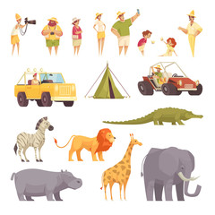 Safari Travel Icons Set