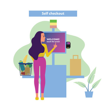 Female customer uses self checkout counter in supermarket, self service lane in grocery store. Flat style stock vector illustration.