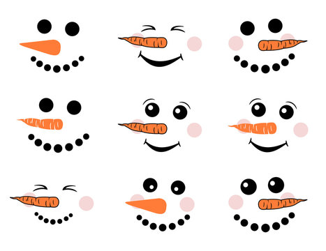 Cute snowman face vector set