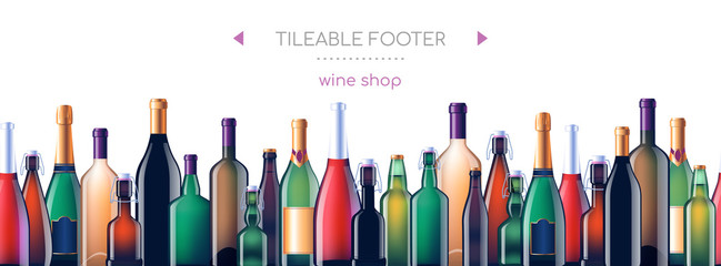 Alcohol glass bottles - vector realistic seamless web footer Fototapete