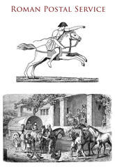 Ancient Roman postal service and a messenger horseback