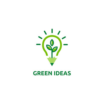 ecology leaf, pencil and light bulb shape symbol icon. Green idea concept. Vector illustration. Logo design for corporate business