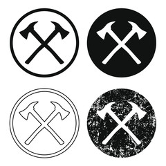 flat style Fire ax cross icon sign set. Fire department axe logo symbol. Vector illustration image. Isolated on white background.