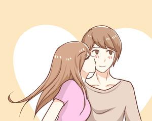 Couple in love girl kissing boy cheek cute sweet bright teen lover in pastel vector illustration