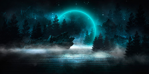 Fototapeta Futuristic night landscape with abstract landscape and island, moonlight, shine. Dark natural scene with reflection of light in the water, neon blue light. Dark neon background. 3D illustration obraz