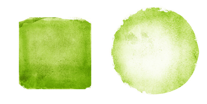 Two watercolor circle and square on white as background